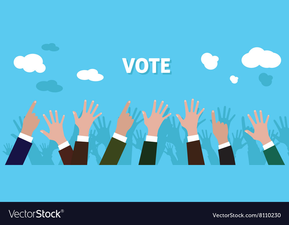 People give vote with raise his hand blue vector image