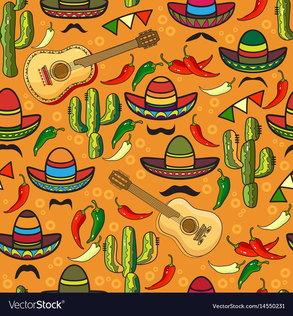 Seamless pattern sombrero guitar pepper vector image