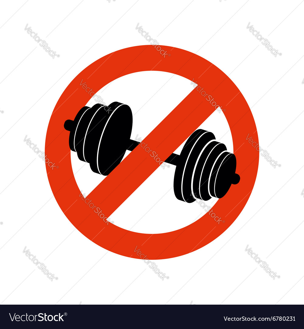 Stop bodybuilding Ban sport Prohibiting sign for vector image