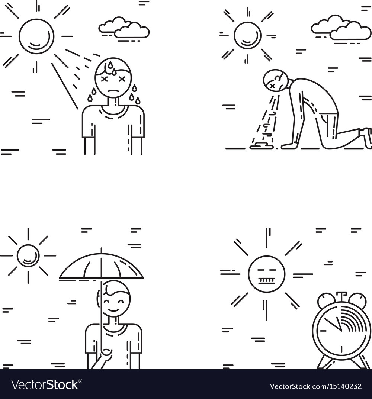 Heat stroke vector image