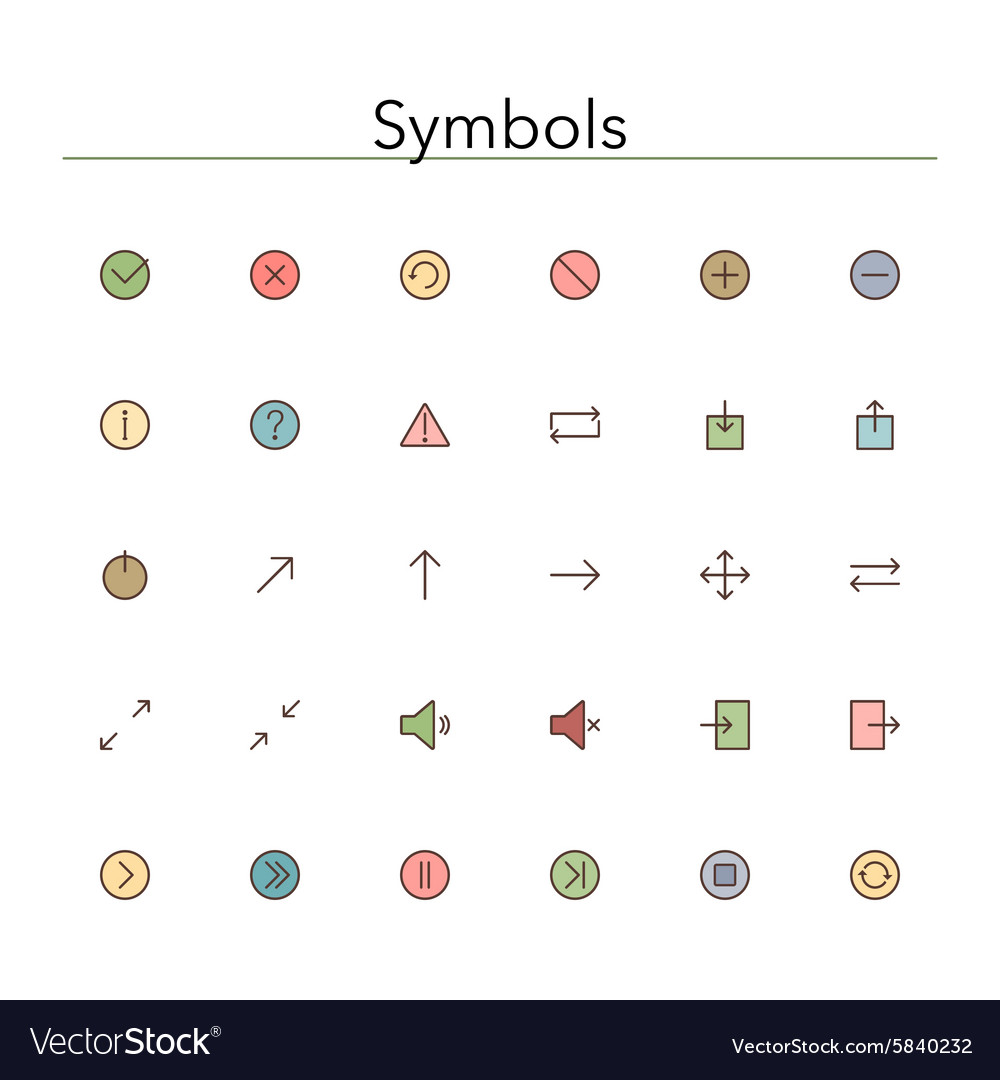 Symbols Colored Line Icons vector image