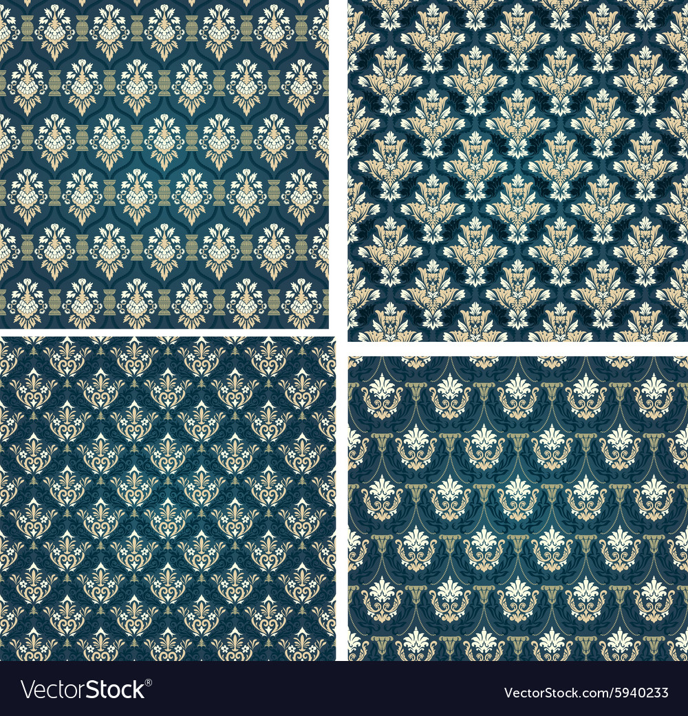 Colorful Seamless Damask Set vector image