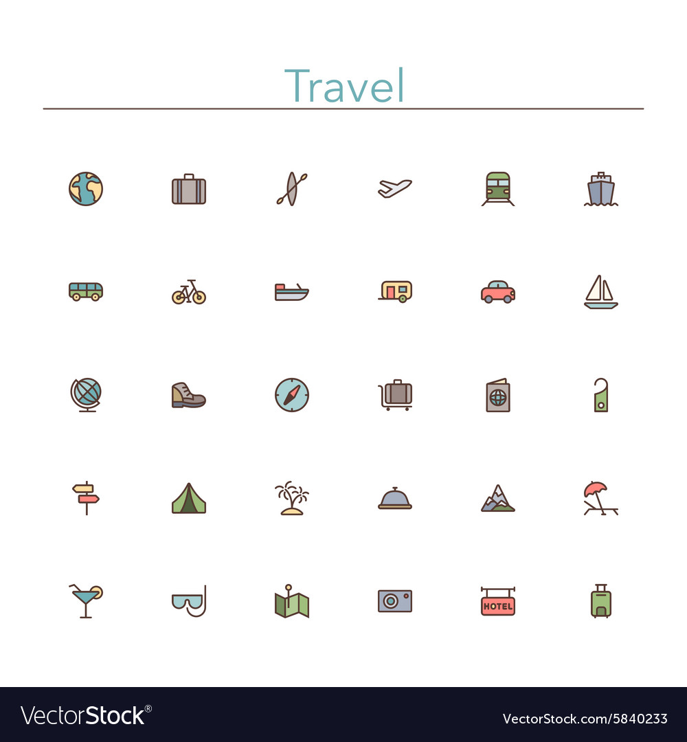 Travel Colored Line Icons vector image