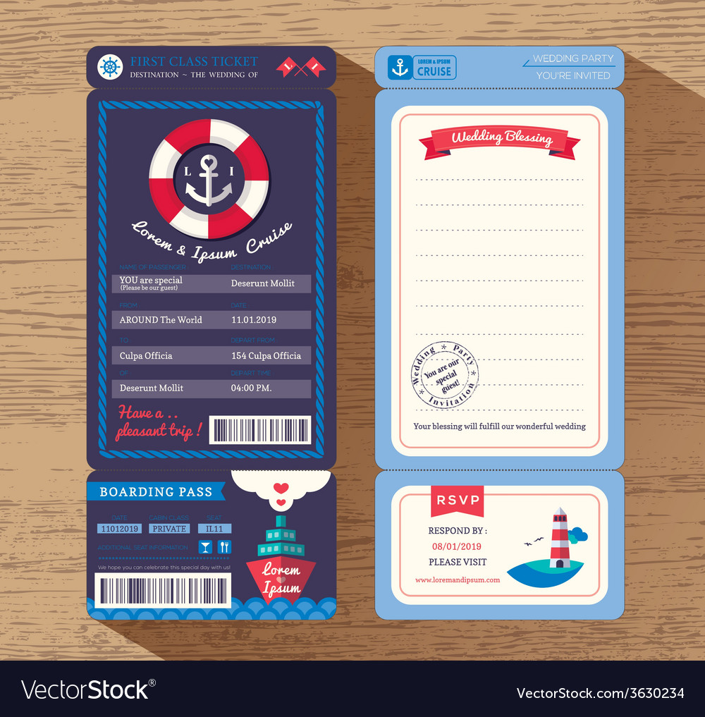 Cruise Ship Boarding Pass Ticket Wedding Invite Vector Image - How much is a cruise ship ticket