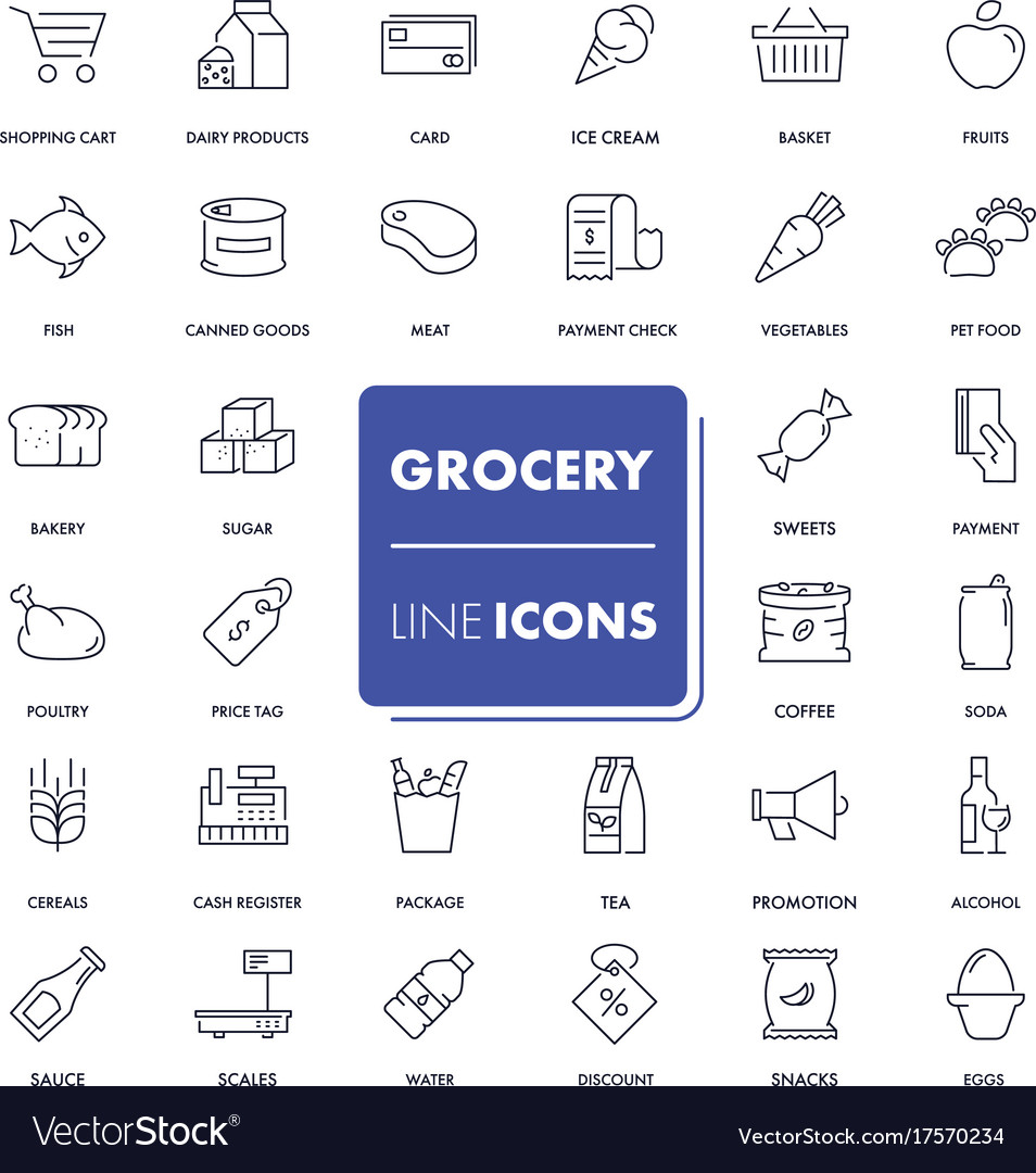Line icons set grocery vector image