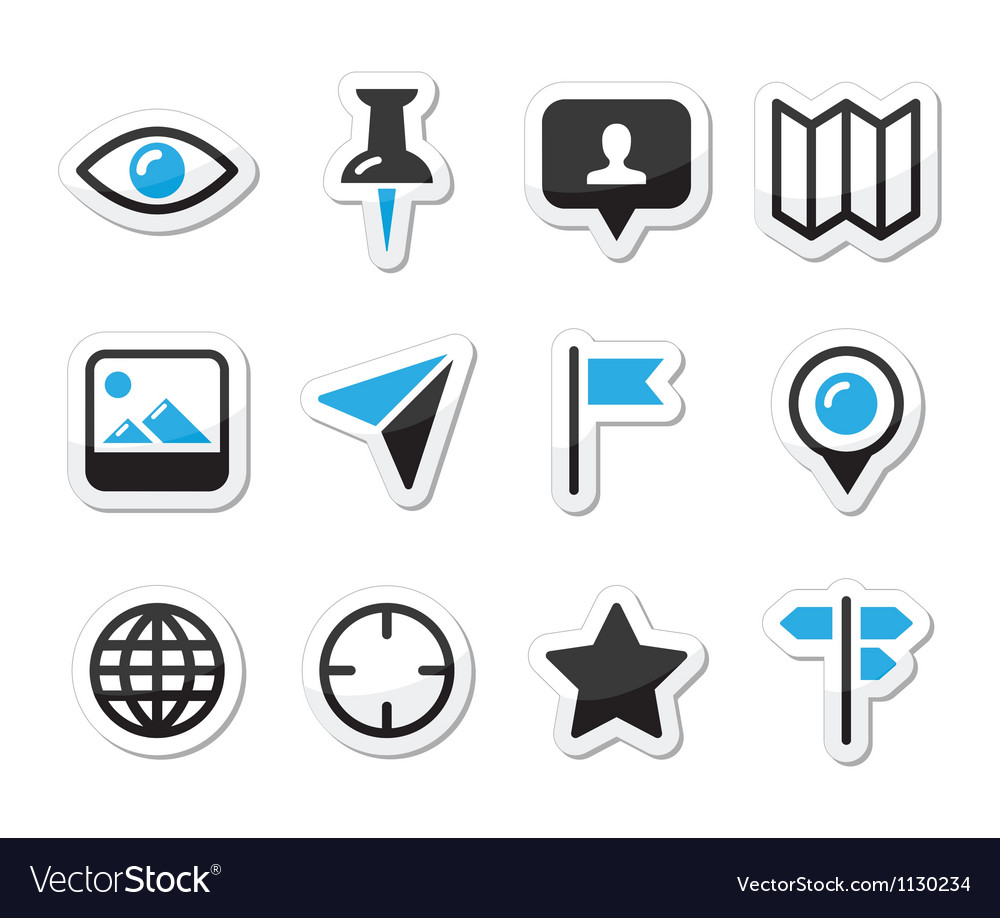 Location map traveling icon set - vector image