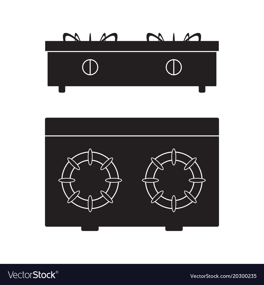 Gas stove cooker icon flat sign vector image