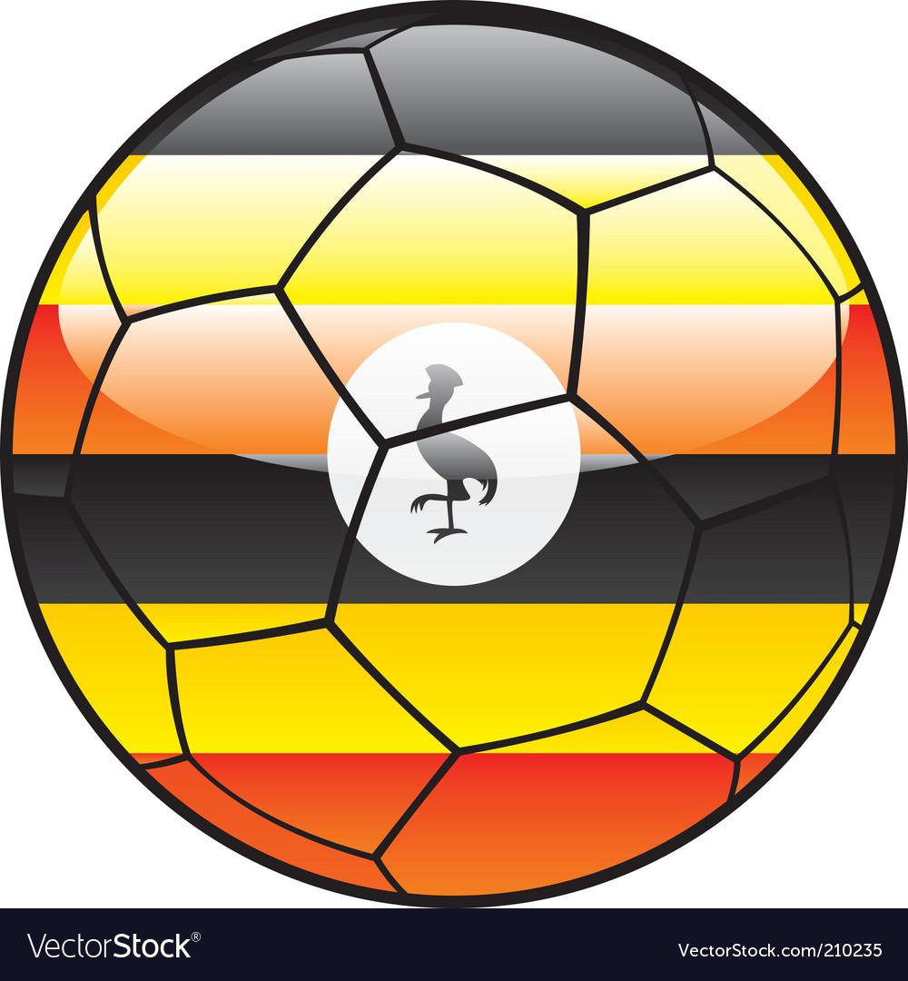 Uganda flag on soccer ball vector image
