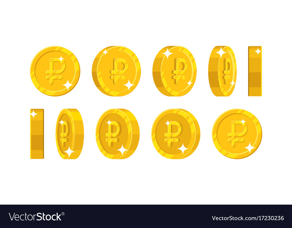 Gold dollar views cartoon style isolated vector image