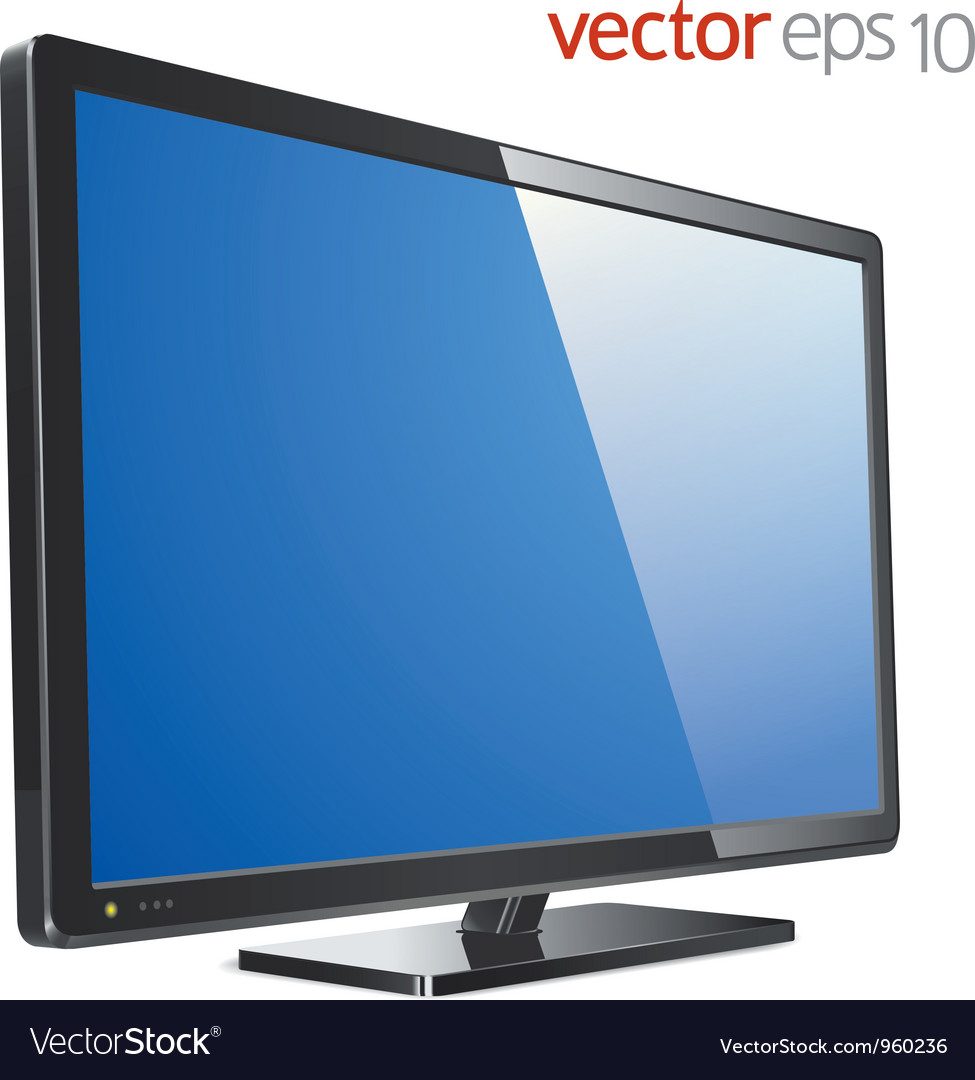 Monitor lcd tv vector image