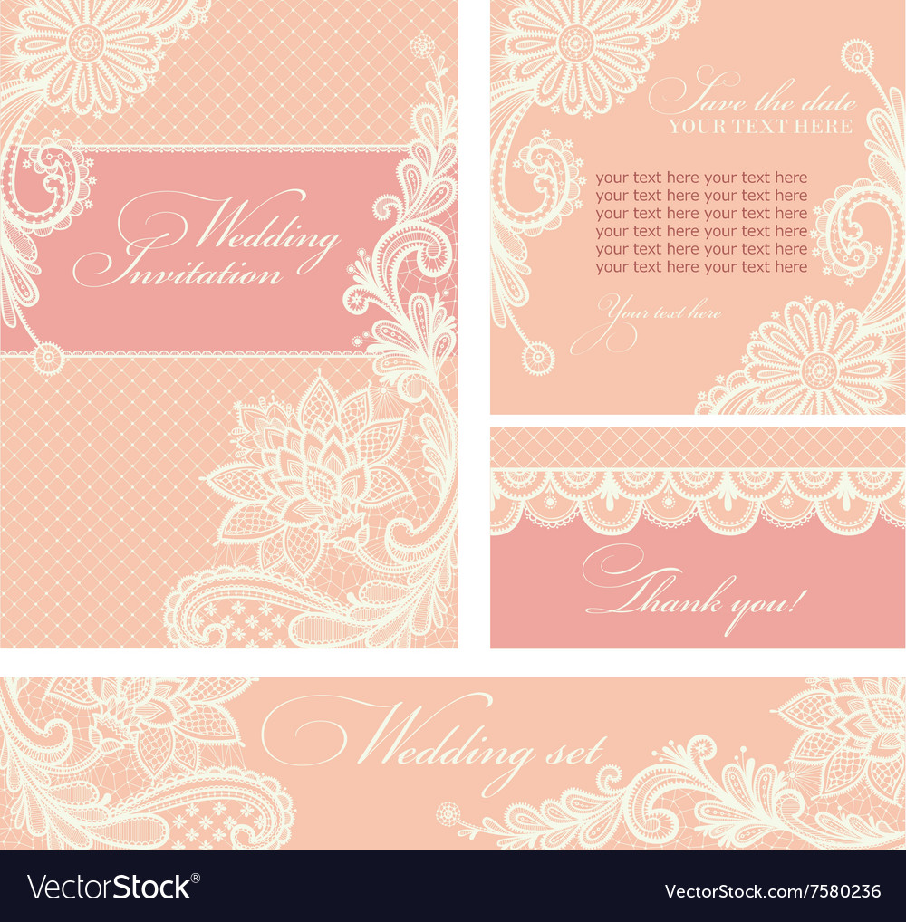 Wedding invitation with lace flowers Royalty Free Vector