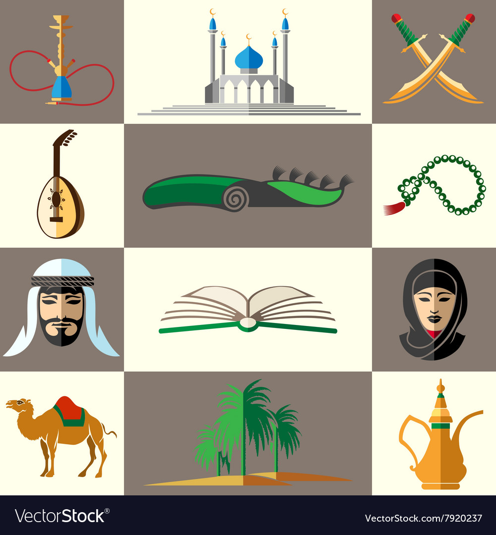 Arabic middle east flat icons vector image