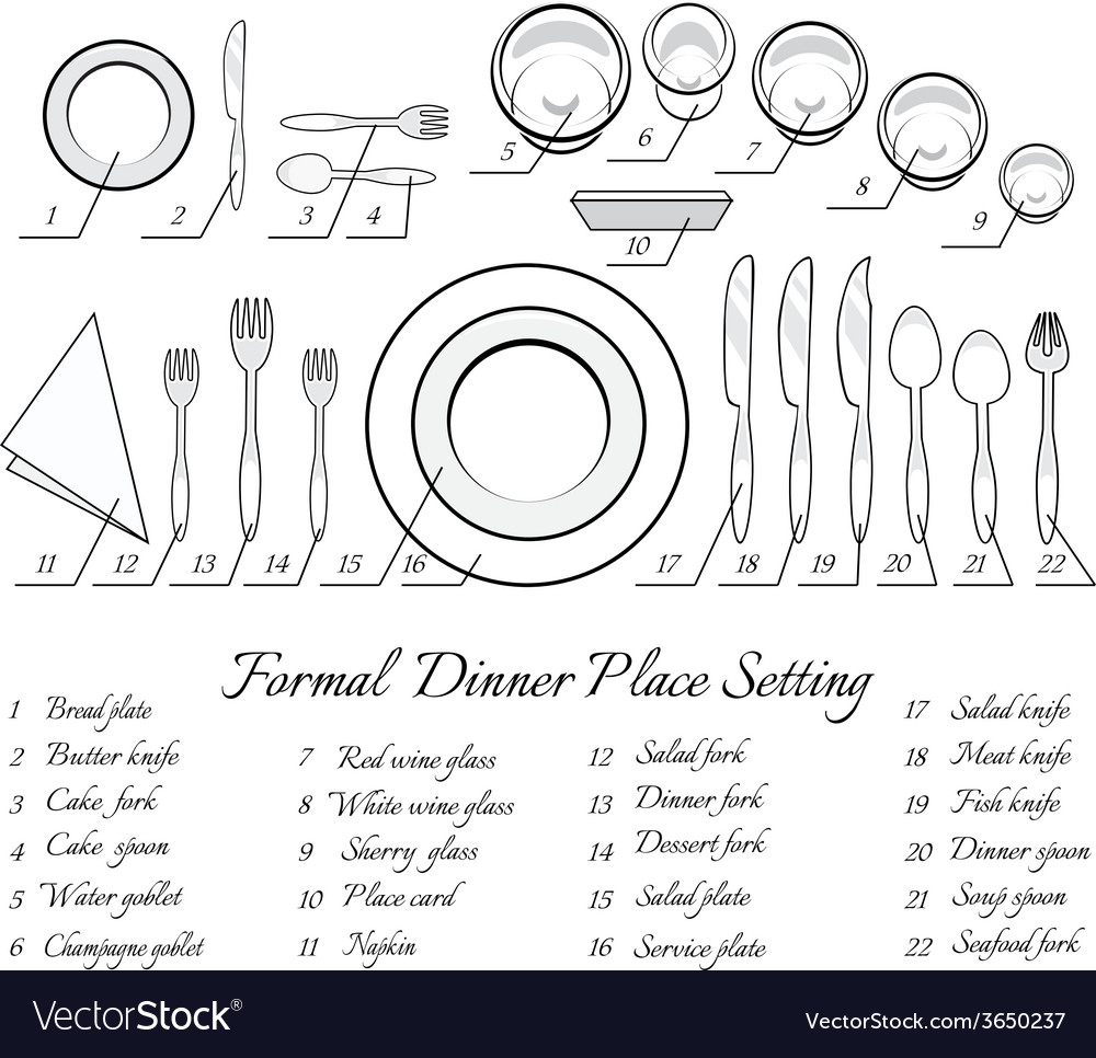 Formal table setting Royalty Free Vector Image