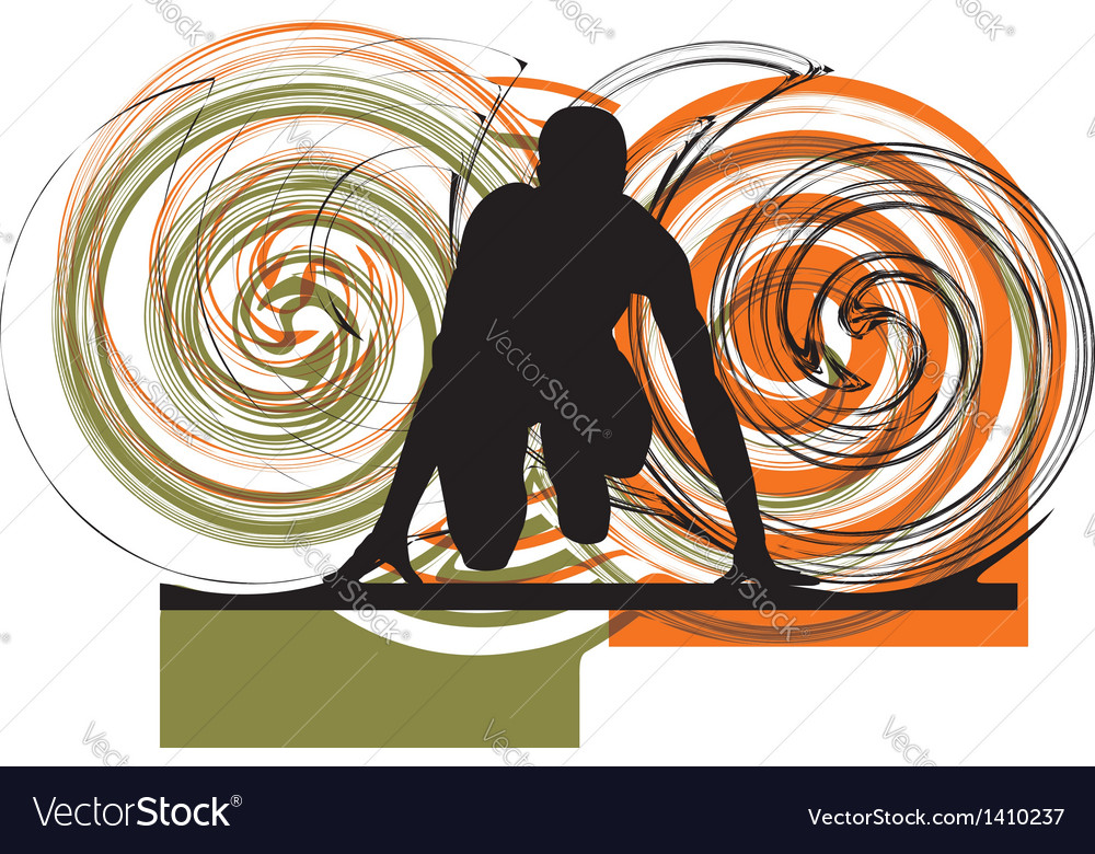 Runner in start position vector image