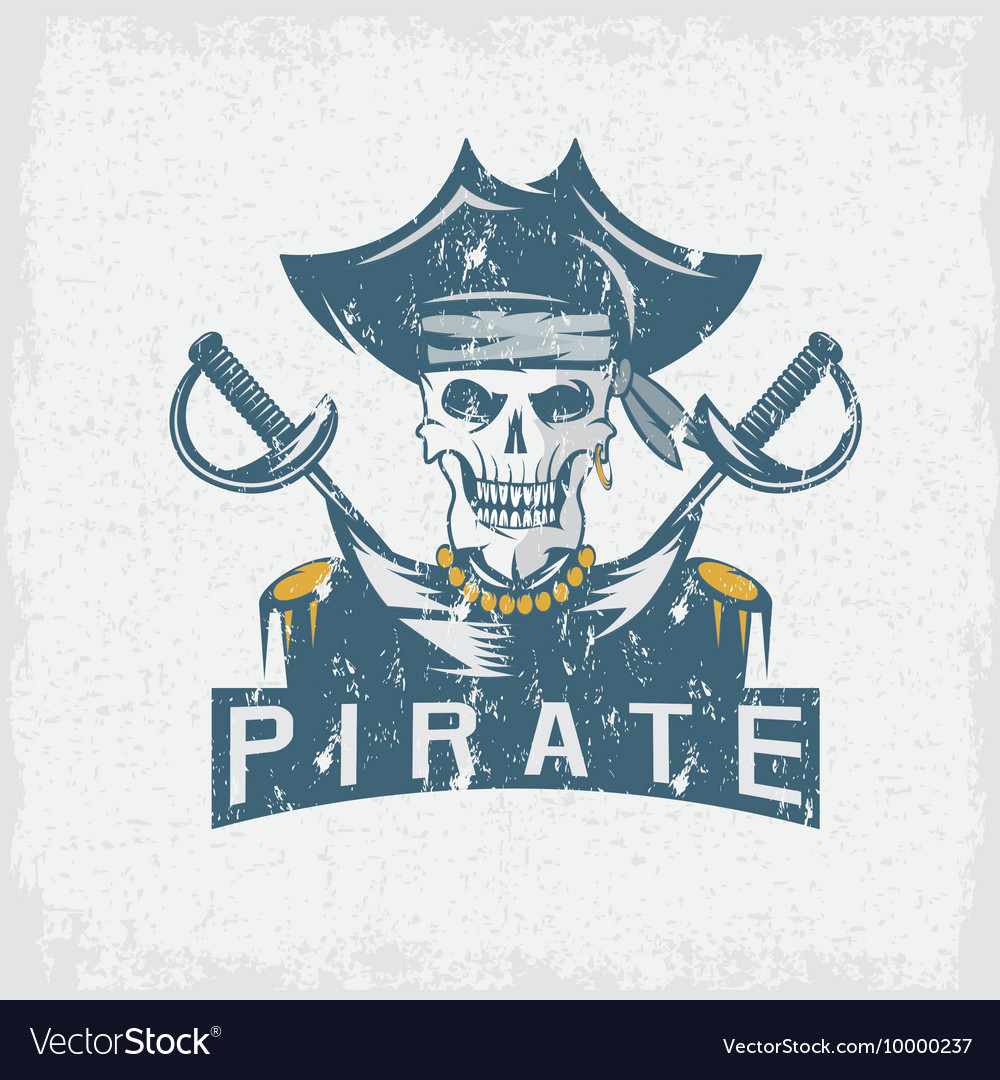 Skull captain pirate in hat with swords grunge vector image
