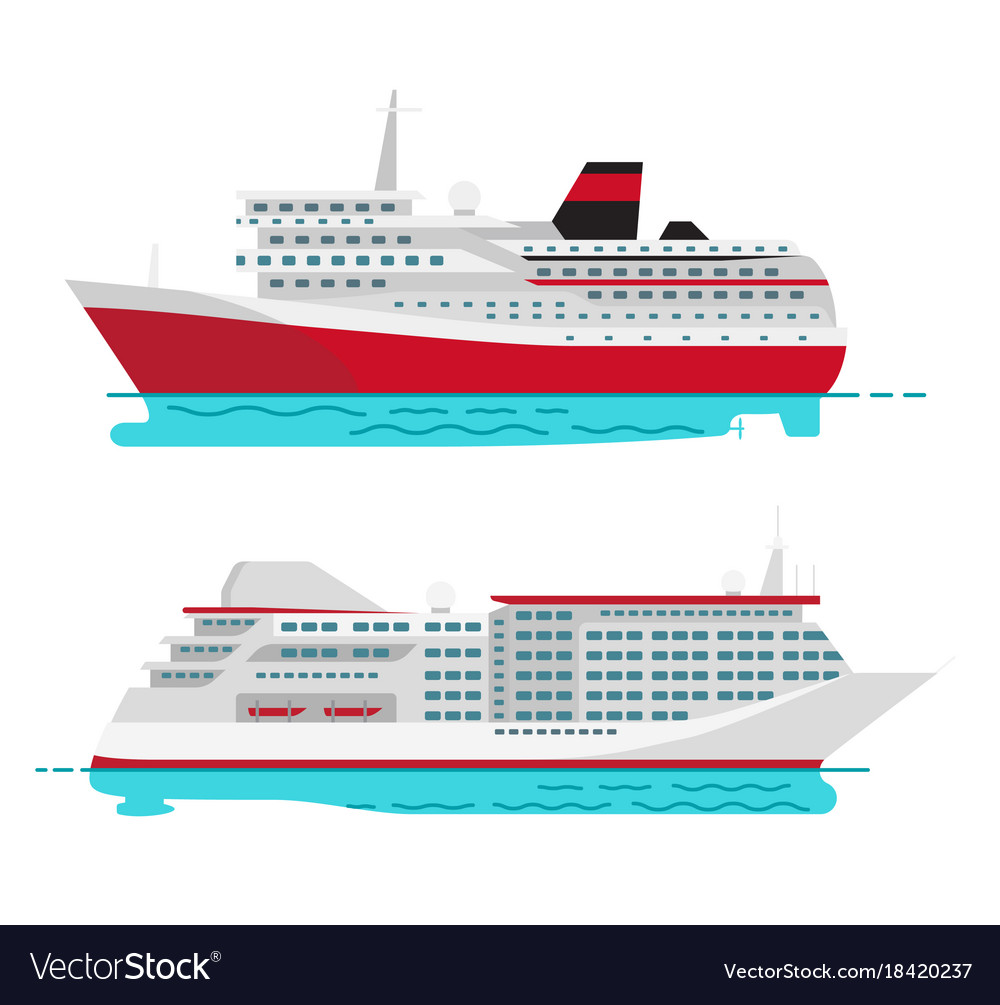 Spacious Luxury Cruise Liner And Big Red Steamer Vector Image - Can you take a steamer on a cruise ship