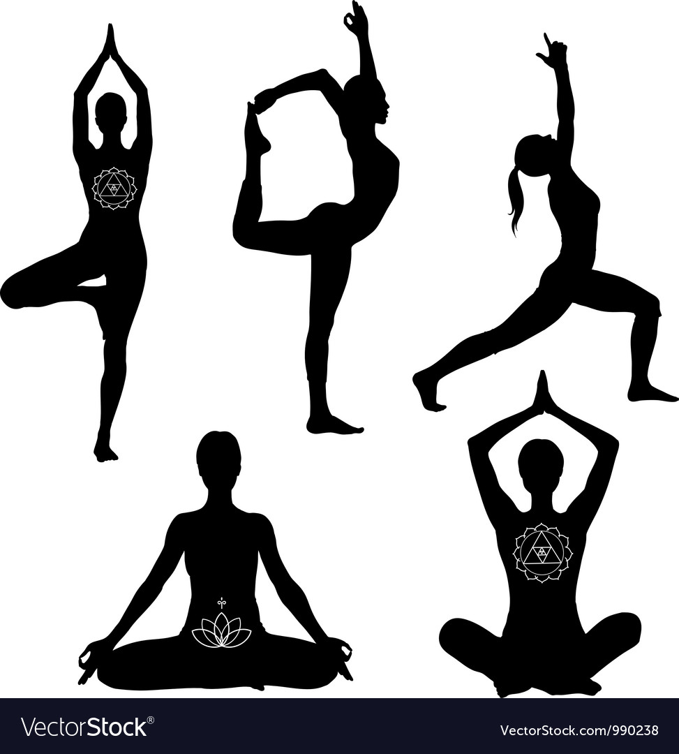 Yoga poses icon set Vector Image