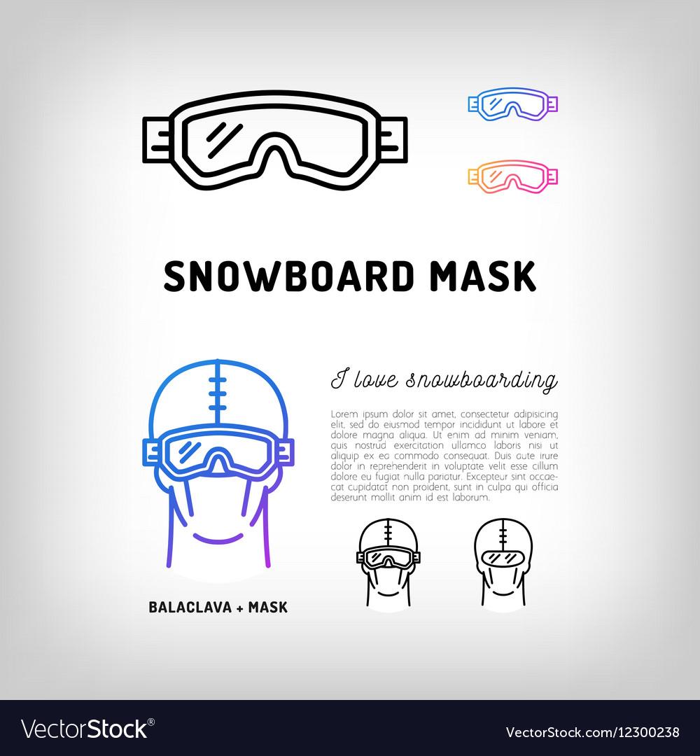 Snowboard mask Hockey and ski goggles Winter vector image