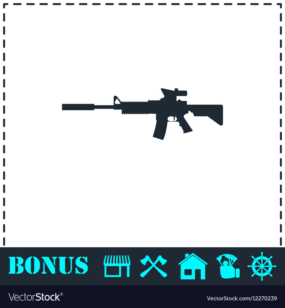 Assault carbine icon flat vector image