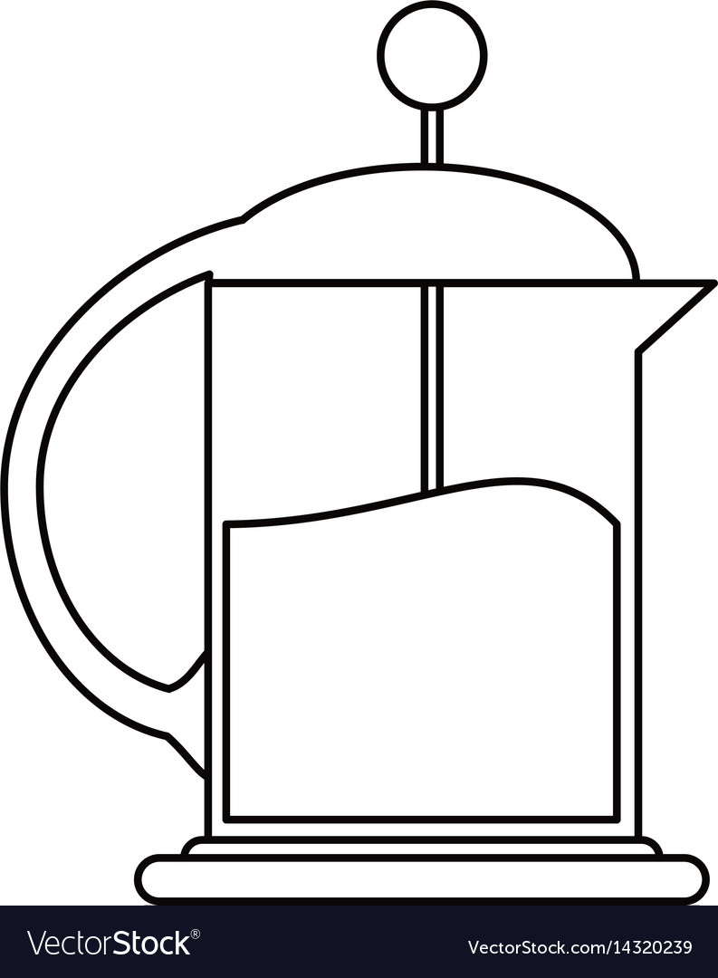 French press coffee maker outline vector image