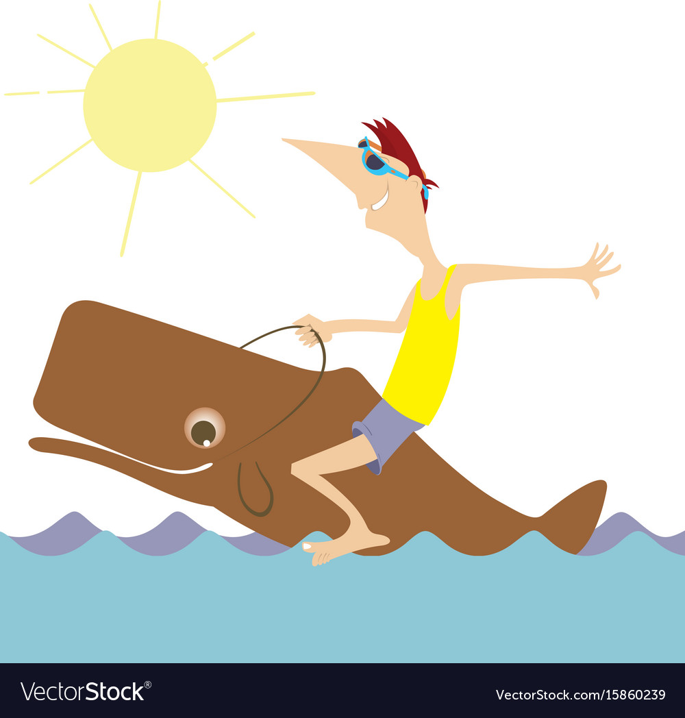 Smiling man rides on the whale isolated vector image