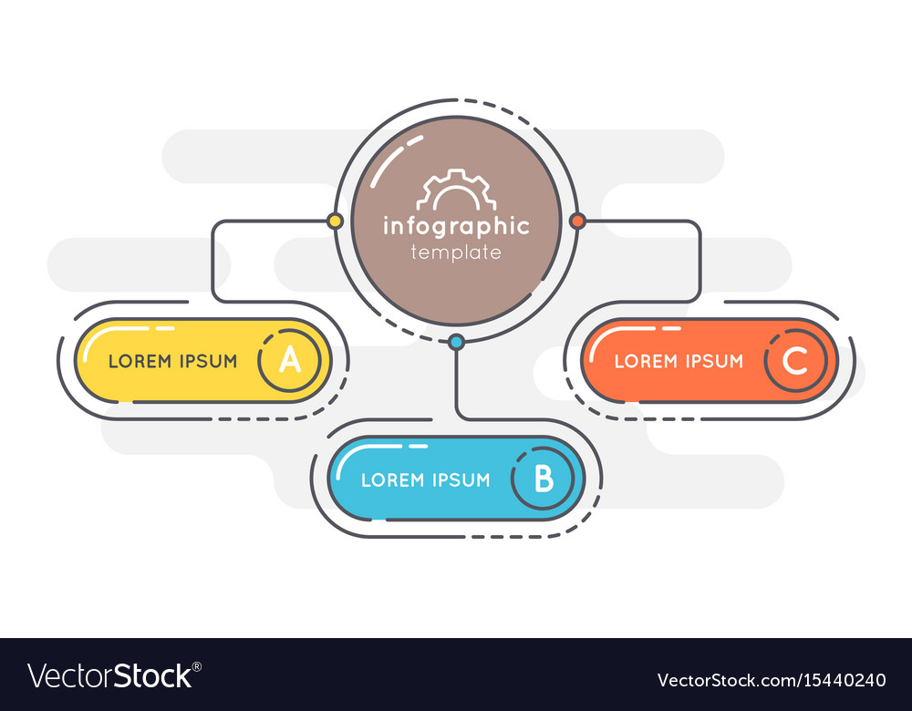 Flat style 3 options presentation infographic vector image