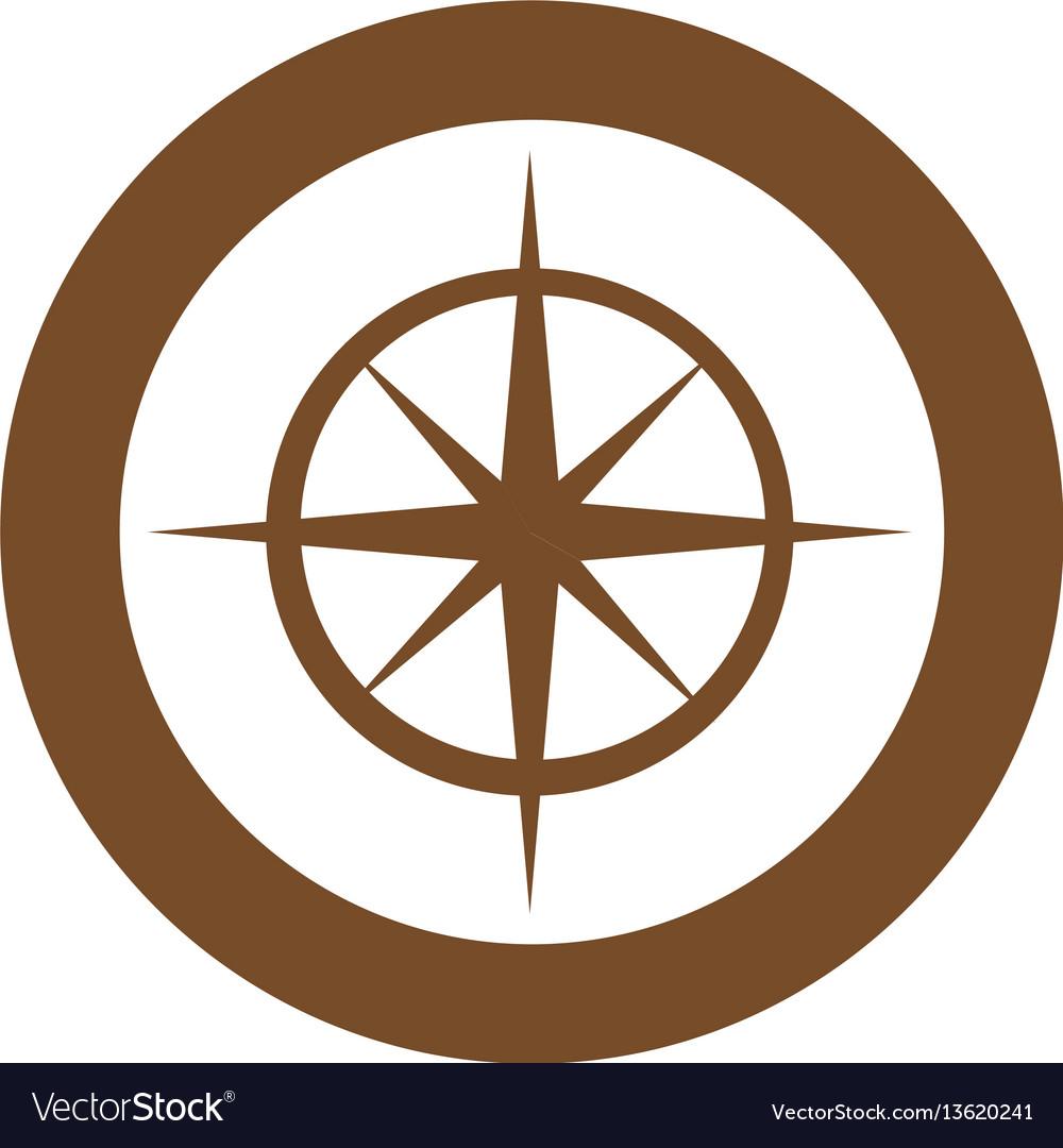 Brown symbol compass star icon vector image