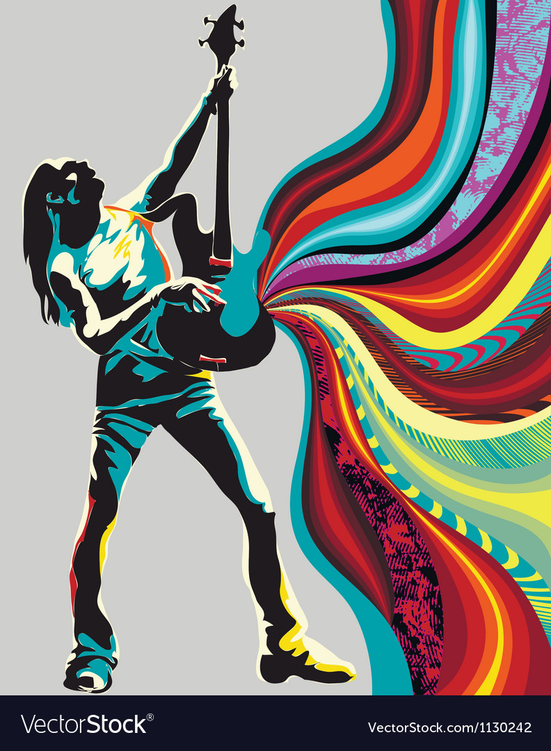Singer on the background vector image