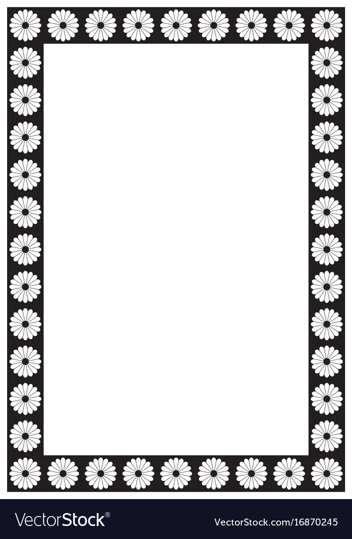 flower page border a4 design for project vector image