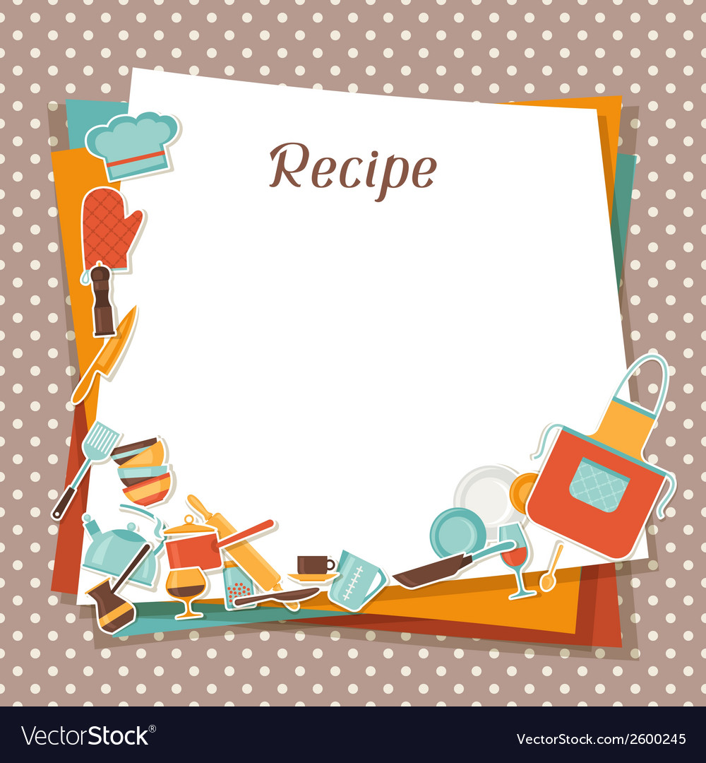 Restaurant Kitchen Illustration recipe background with kitchen and restaurant vector image