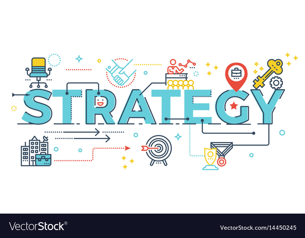 Strategy word lettering vector image