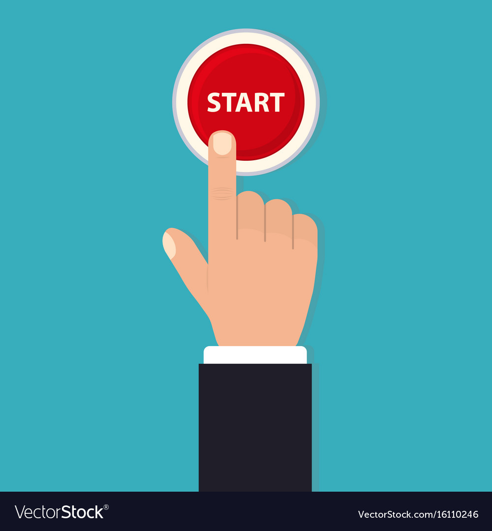 Hand push start press the button flat style vector image
