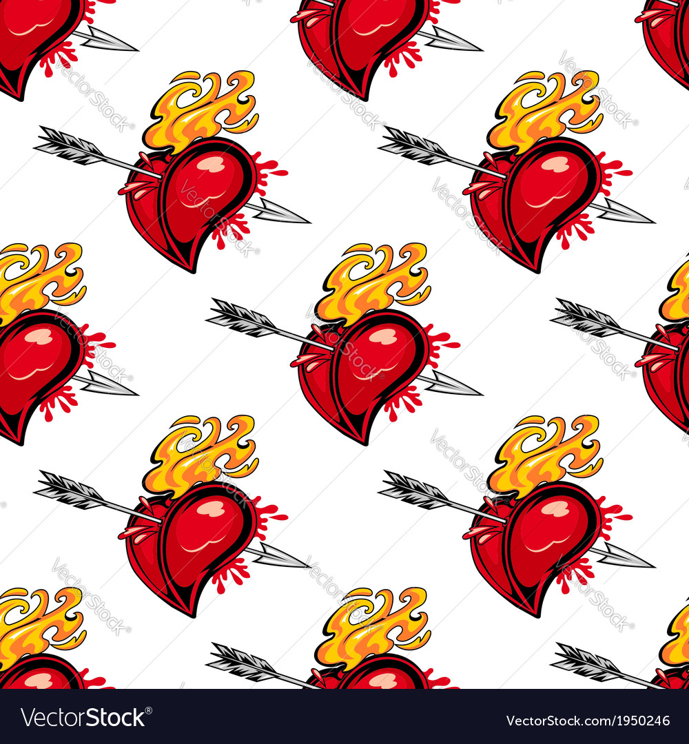 Pattern of a flaming heart pierced by an arrow vector image