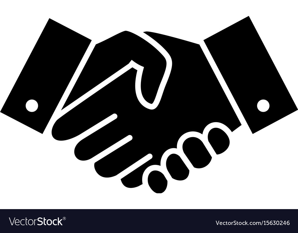 Professional welcome and respect handshake icon vector image