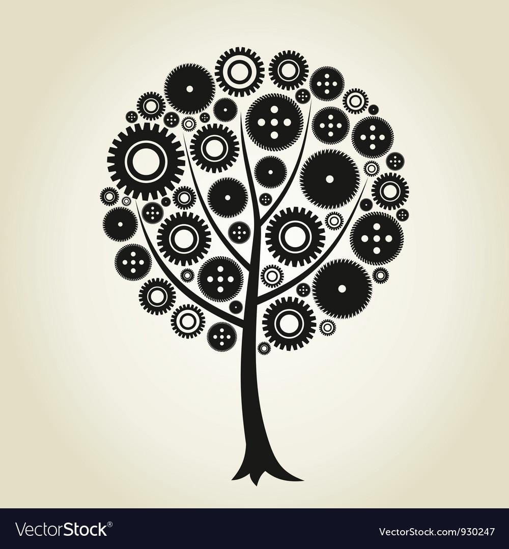 Tree a gear wheel vector image
