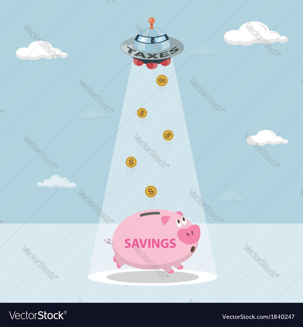UFO tax savings are drawn from my savings vector image