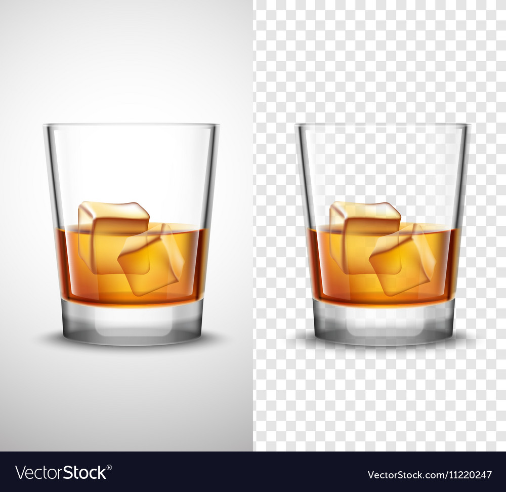 Whisky Shots Glassware Realistic Transparent vector image