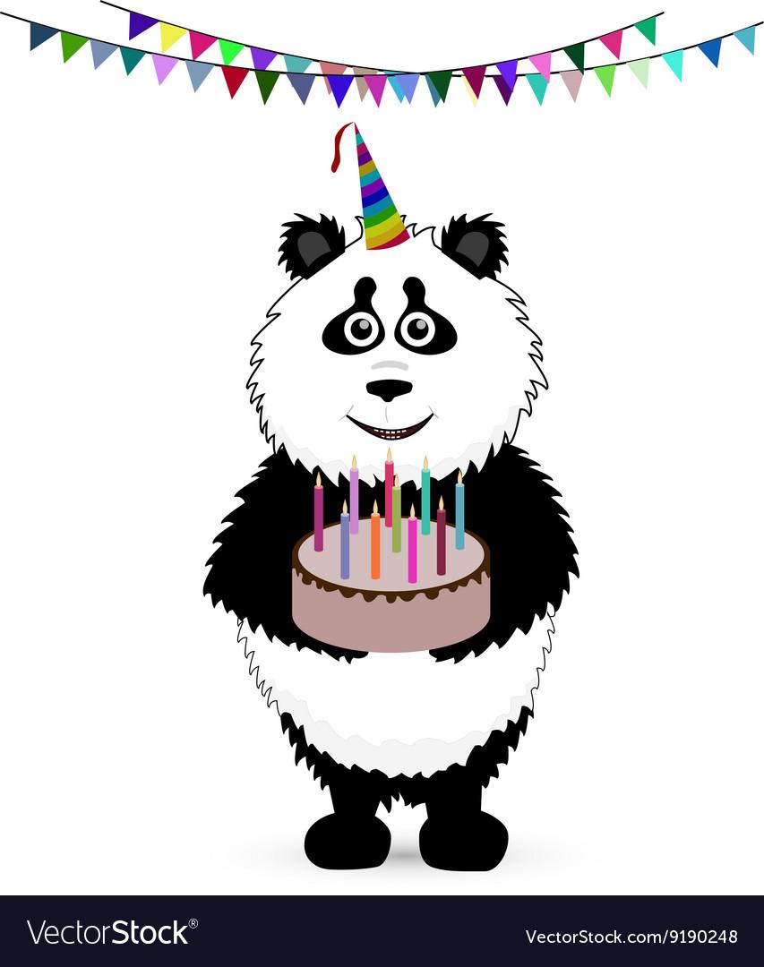 Cute baby card with nice panda vector image