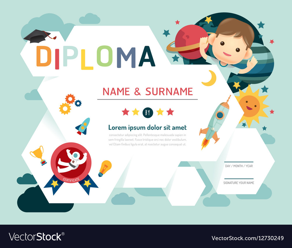 Certificate kids diploma kindergarten template vector image yadclub Images