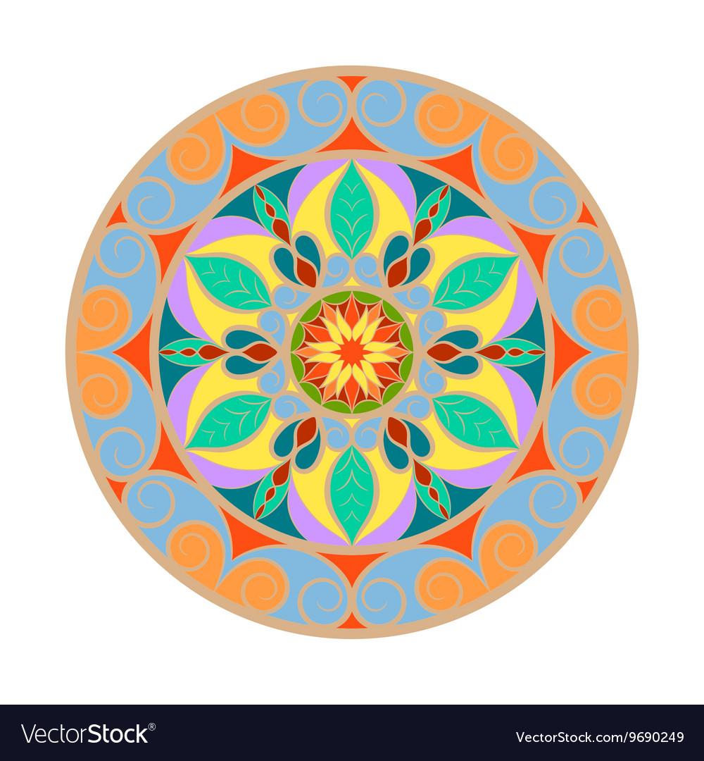 Color Flower Mandala Over White Vector Image