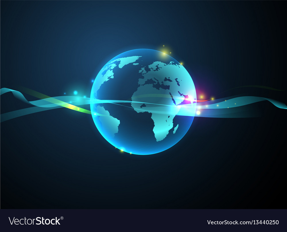 Earth hologram abstract background vector image