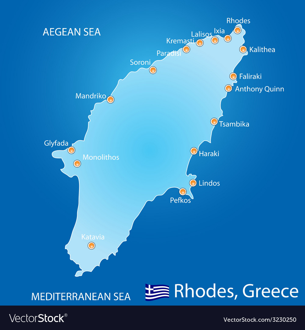 Island of Rhodes in Greece map Royalty Free Vector Image