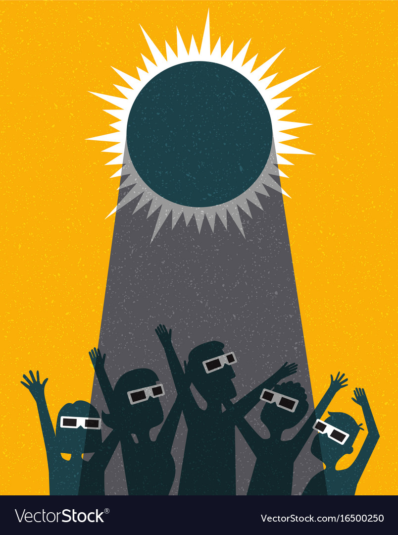 Retro people celebrate watching the solar eclipse vector image