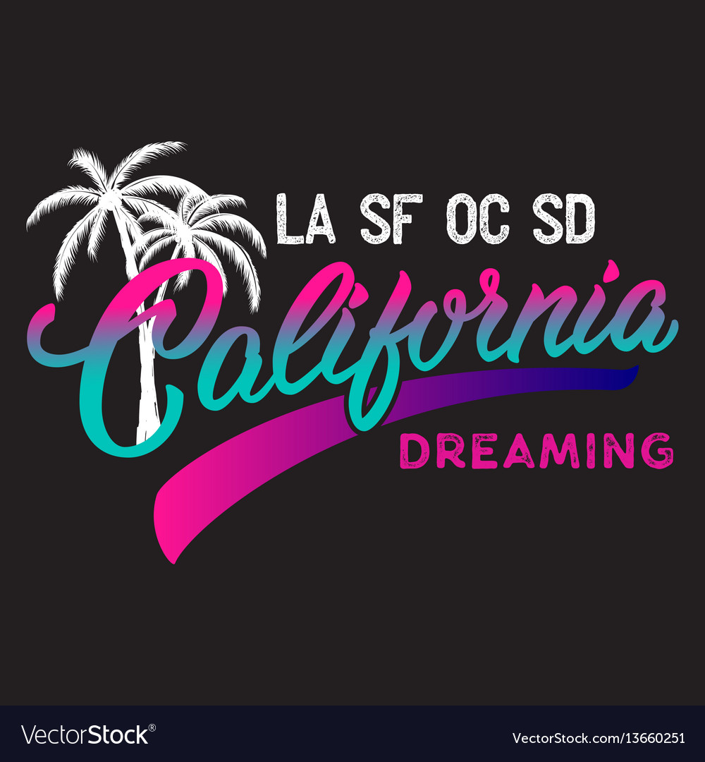 California calligraphic design with palm vector image