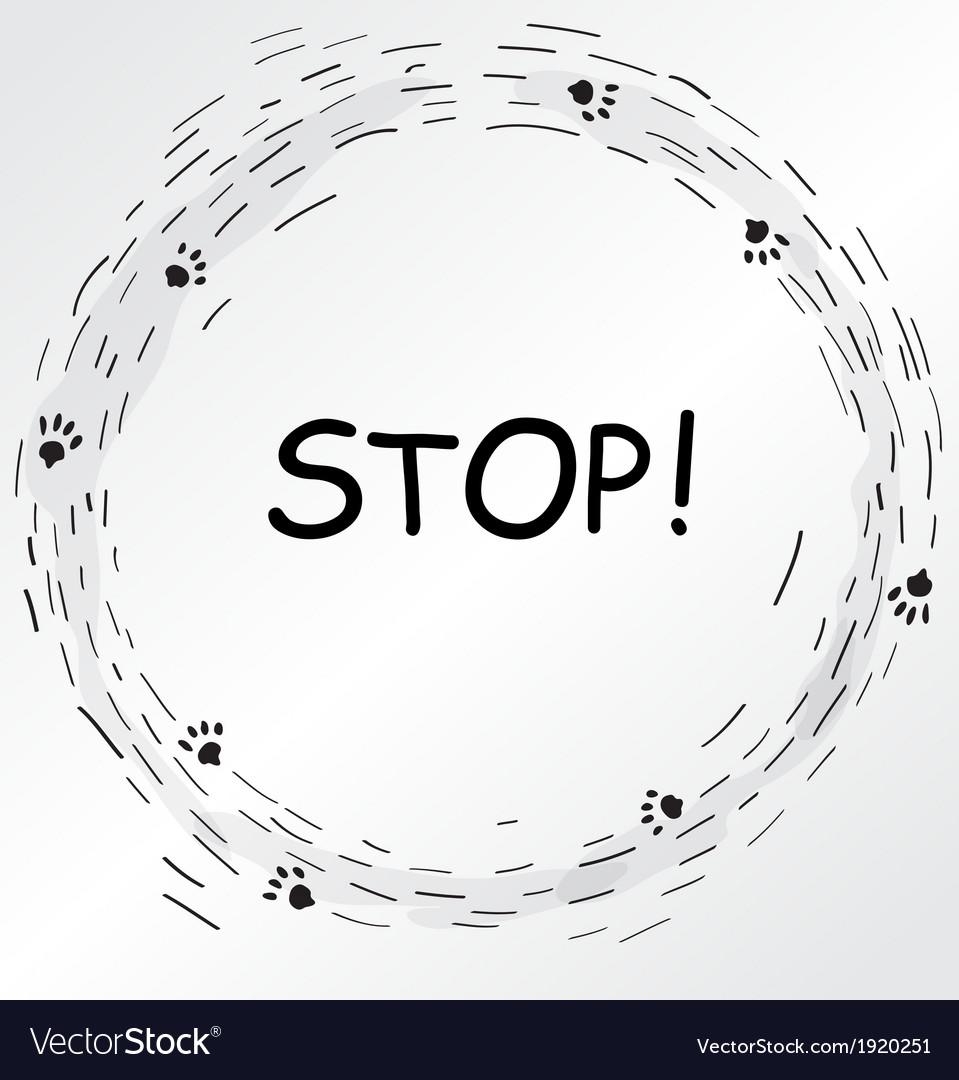 Circular frame with cat foot prints vector image