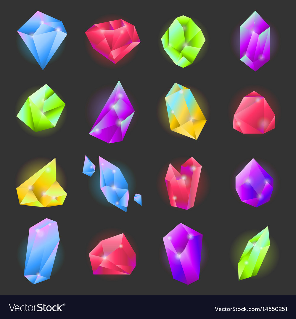 Crystals or gemstones of different forms and vector image