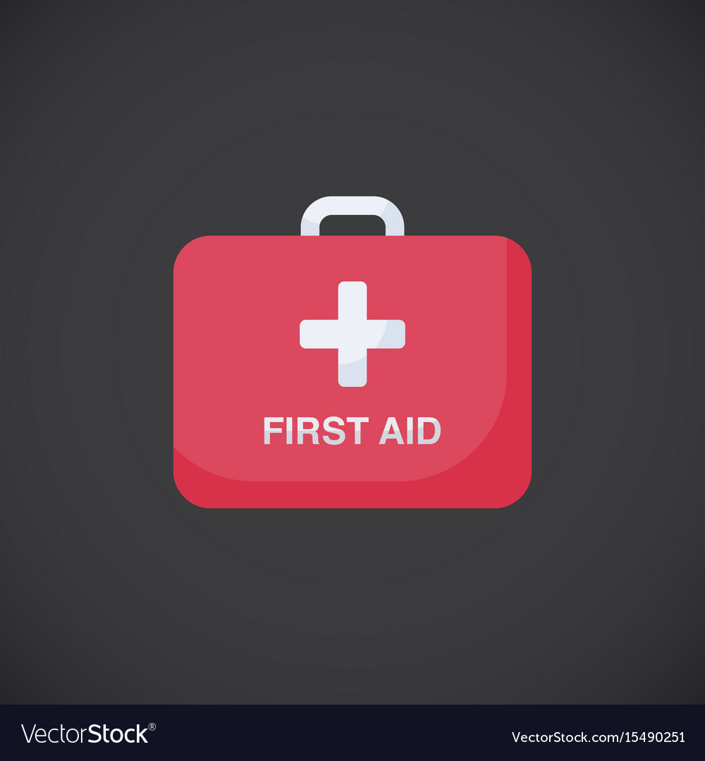 First aid kit box flat icon vector image