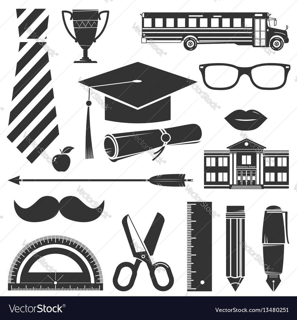 Graduation icons set isolated on white vector image