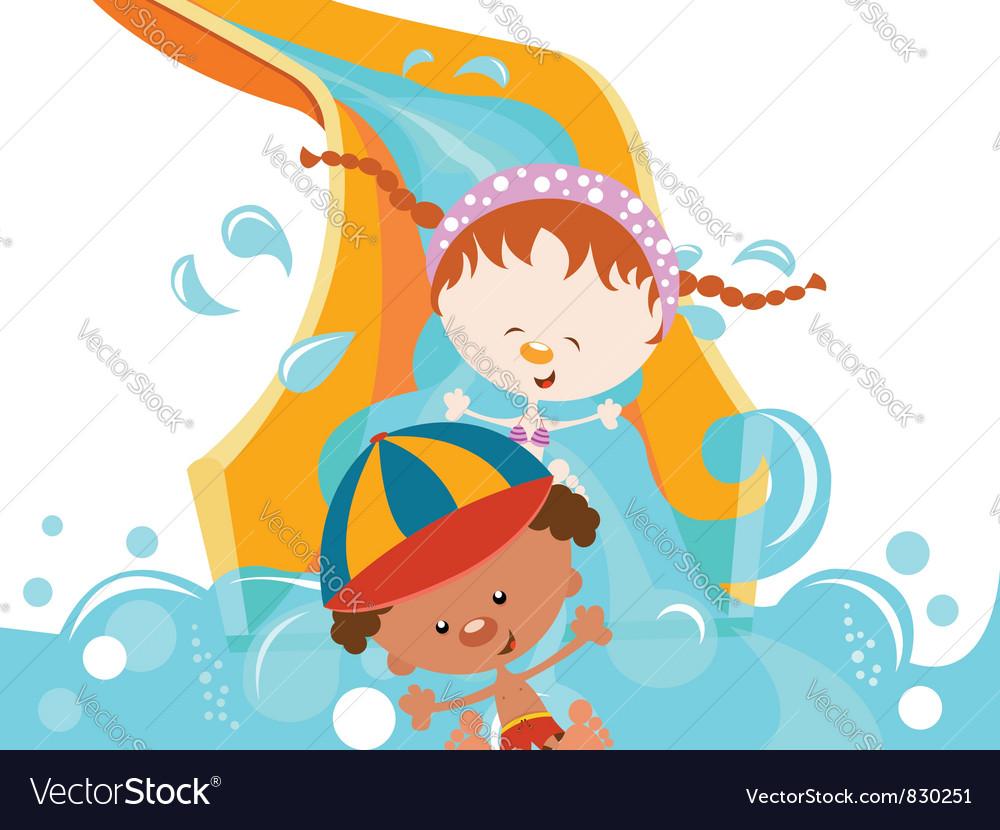 Kids On Water Slide vector image