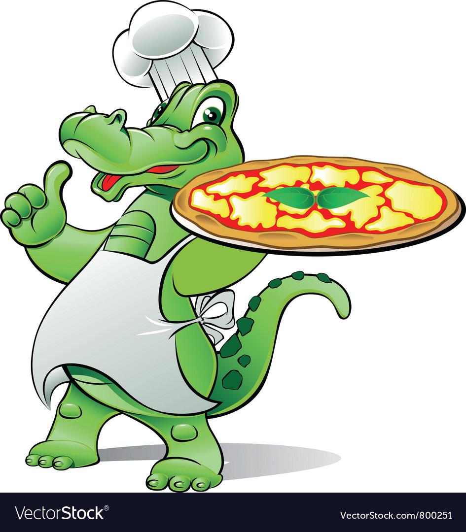 Pizza alligator chef vector image